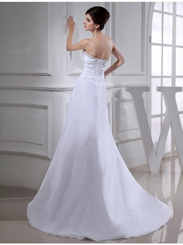A-Line/Princess Beading Long Sleeveless Taffeta Wedding Dresses