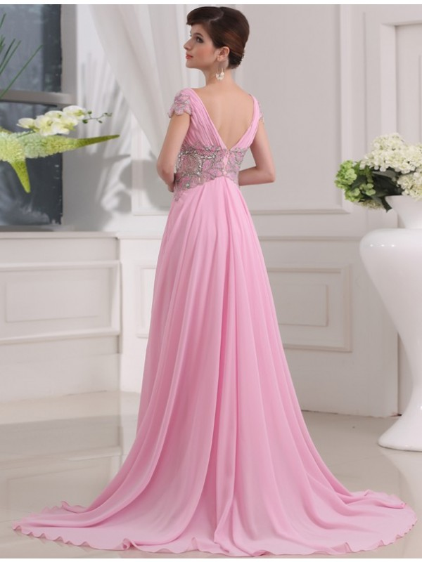 A-Line/Princess V-neck Long Short Sleeves Beading Chiffon Dresses
