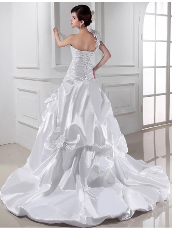 A-Line/Princess One-shoulder Sweetheart Sleeveless Long Pleats Elastic Woven Satin Wedding Dresses
