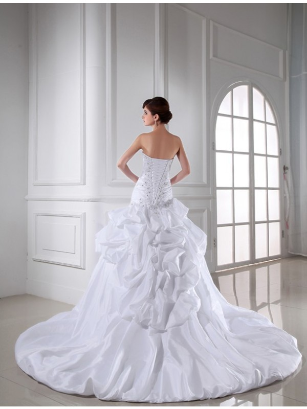 Beading Sweetheart Sleeveless Long Taffeta Wedding Dresses
