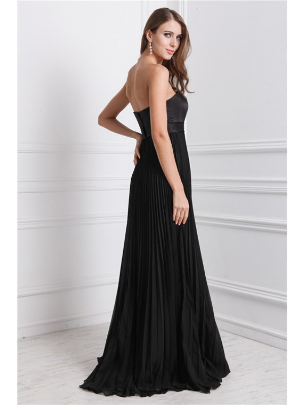 A-Line/Princess Strapless Sleeveless Ruffles Long Chiffon Bridesmaid Dresses