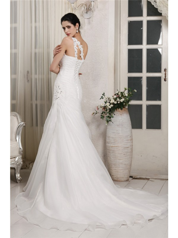 Trumpet/Mermaid One-Shoulder Sleeveless Beading Applique Long Organza Wedding Dresses