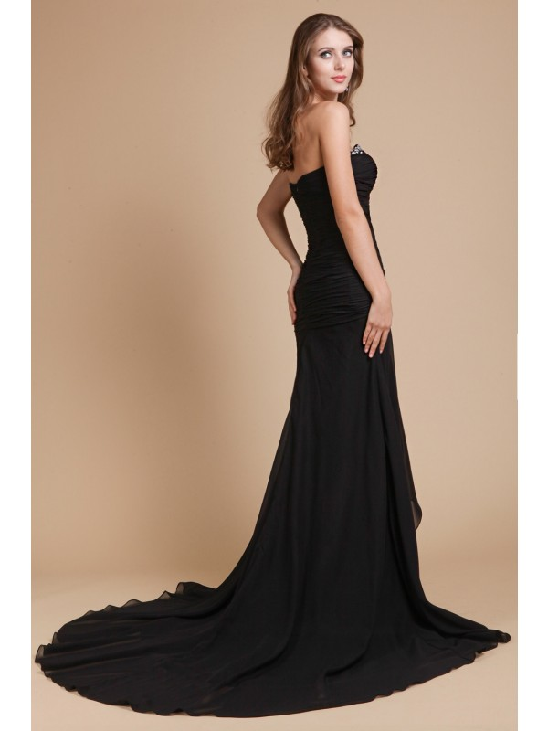 Trumpet/Mermaid Sweetheart Sleeveless Beading Long Chiffon Dresses