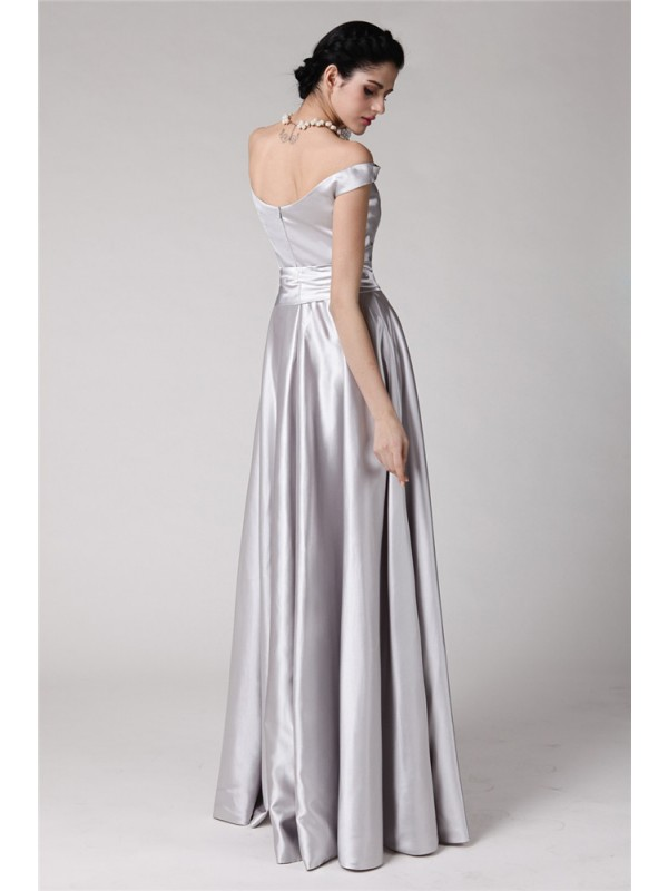 Sheath/Column Off-the-Shoulder Sleeveless Sash Long Elastic Woven Satin Dresses