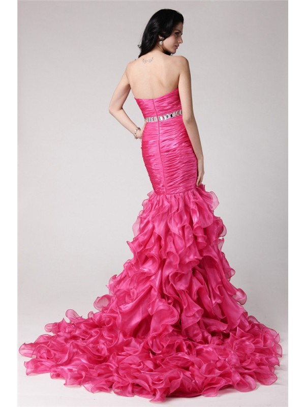 Trumpet/Mermaid Sweetheart Sleeveless Rhinestone Long Organza Dresses