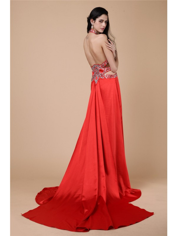 Sheath/Column Halter Sleeveless Beading Long Elastic Woven Satin Dresses