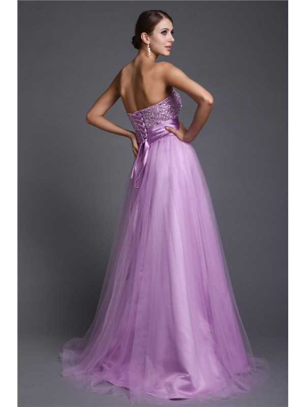 A-Line/Princess Strapless Sleeveless Beading Long Net Dresses