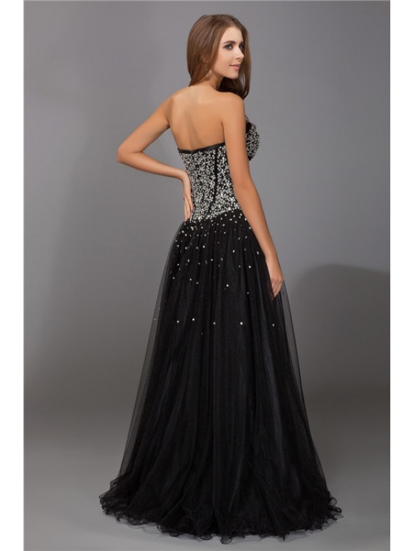 Sheath/Column Sweetheart Sleeveless Beading Long Net Satin Dresses