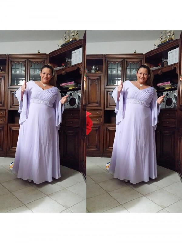 A-Line V-neck Long Sleeves Beading Floor-Length Chiffon Mother Of The Bride Dresses