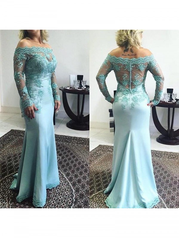 Mermaid Off-the-Shoulder Long Sleeves Applique Sweep/Brush Train Elastic Woven Satin Mother Of The Bride Dresses