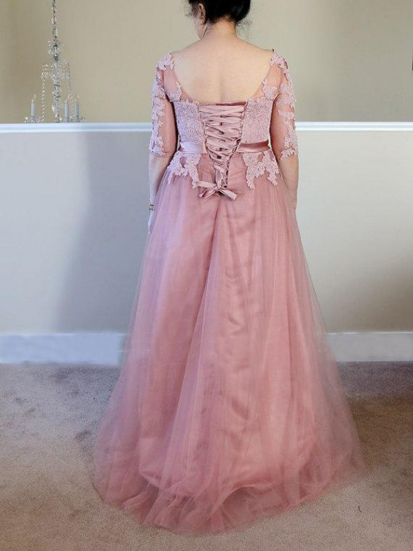 A-Line Bateau 1/2 Sleeves Applique Floor-Length Tulle Mother Of The Bride Dresses