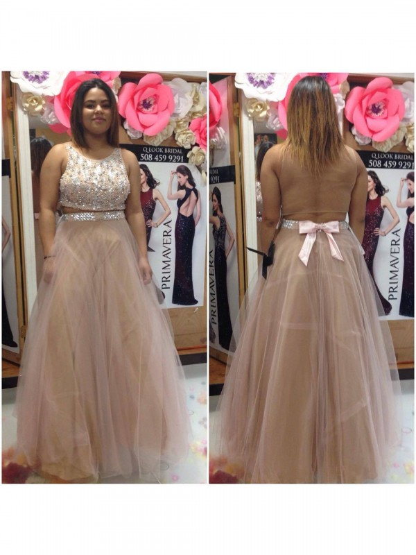 A-Line Scoop Sleeveless Beading Floor-Length Tulle Plus Size Dresses