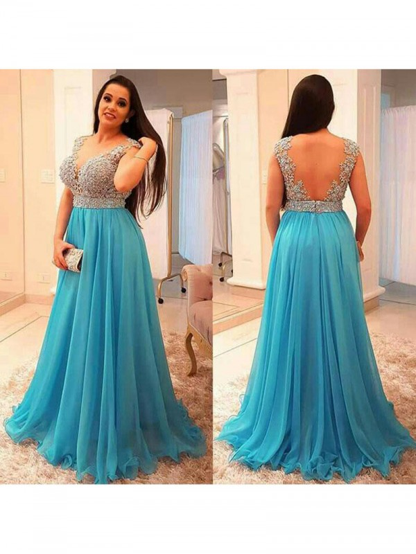 A-Line V-neck Sleeveless Beading Floor-Length Chiffon Plus Size Dresses