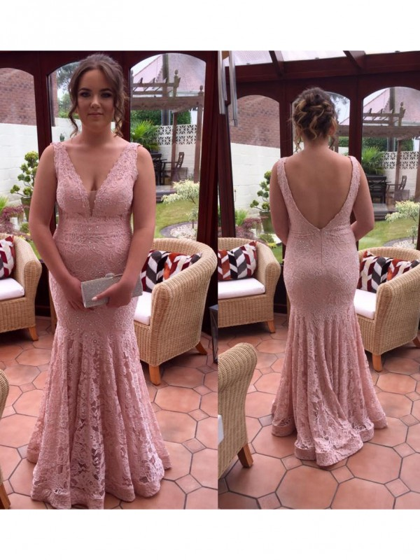 Mermaid V-neck Sleeveless Beading Floor-Length Lace Plus Size Dresses