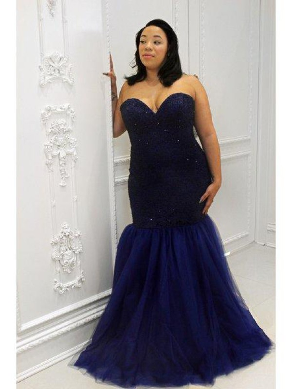 Mermaid Sweetheart Sleeveless Sequin Floor-Length Tulle Plus Size Dresses