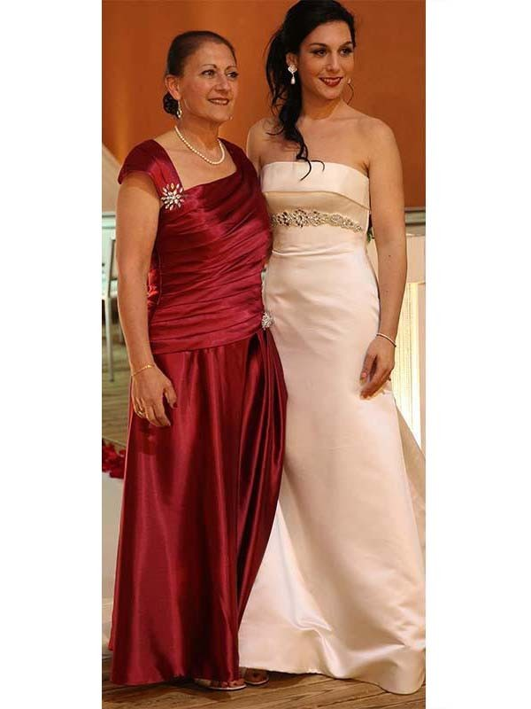 Sheath Straps Sleeveless Beading Floor-Length Satin Mother Of The Bride Dresses