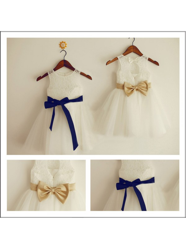 A-Line Scoop Sleeveless Bowknot Tea-length Lace Flower Girl Dress