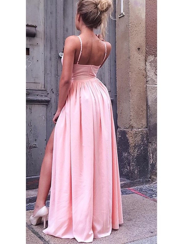A-Line Sleeveless Straps Floor-Length Ruched Chiffon Dresses