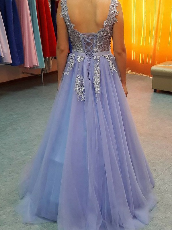 A-Line V-neck Sleeveless Floor-Length Applique Tulle Dresses