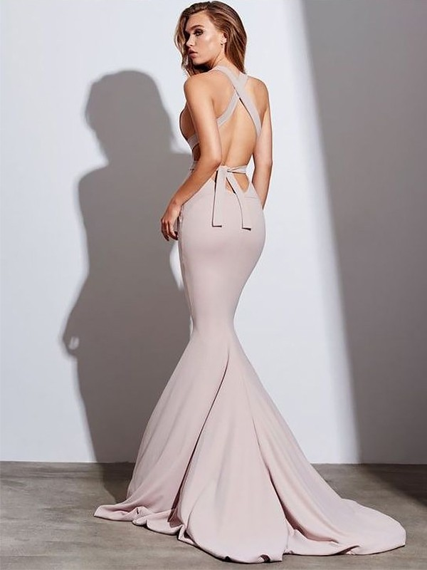 Mermaid V-neck Sleeveless Sweep/Brush Train Ruffles Satin Dresses