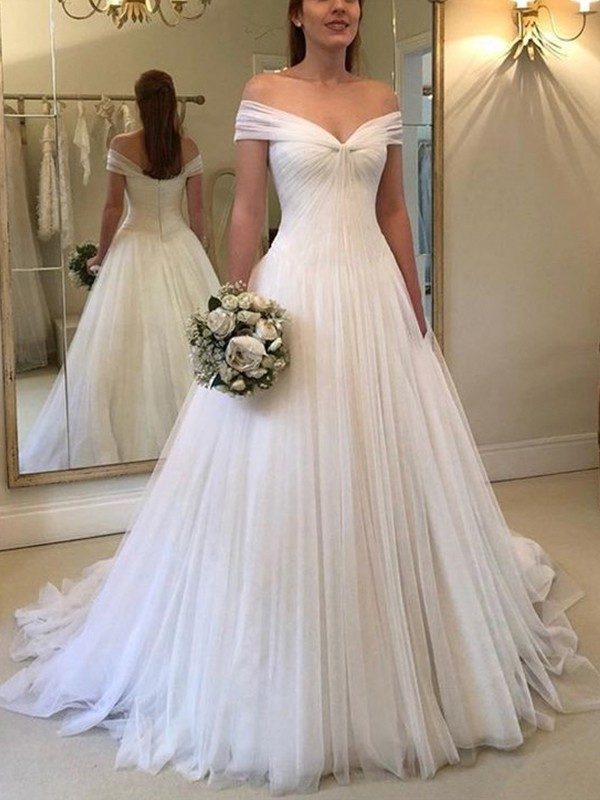 A-Line Off-the-Shoulder Sleeveless Sweep/Brush Train Ruched Tulle Wedding Dresses