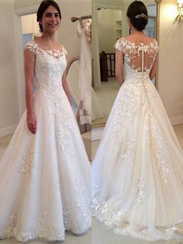 A-Line Scoop Sleeveless Sweep/Brush Train Lace Tulle Wedding Dresses