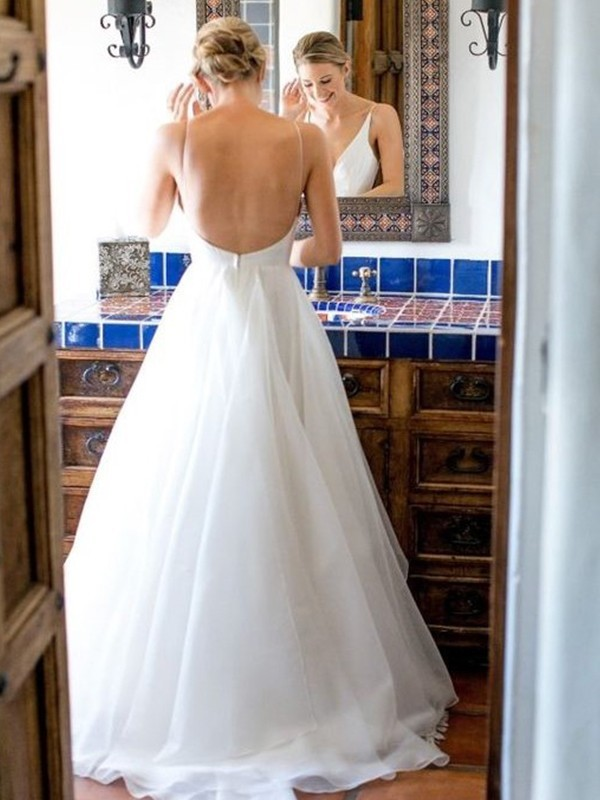 A-Line V-neck Sleeveless Sweep/Brush Train Ruffles Tulle Wedding Dresses