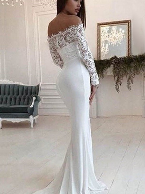 Mermaid Off-the-Shoulder Long Sleeves Court Train Lace Chiffon Wedding Dresses