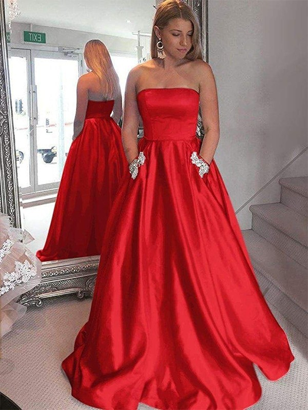 A-Line Strapless Sleeveless Sweep/Brush Train Beading Satin Dresses