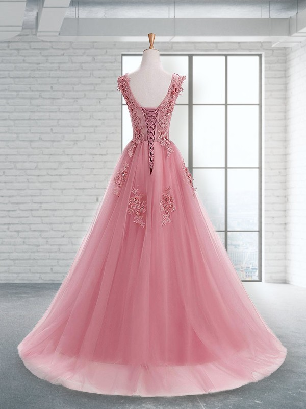 A-Line Scoop Sleeveless Floor-Length Applique Tulle Dresses