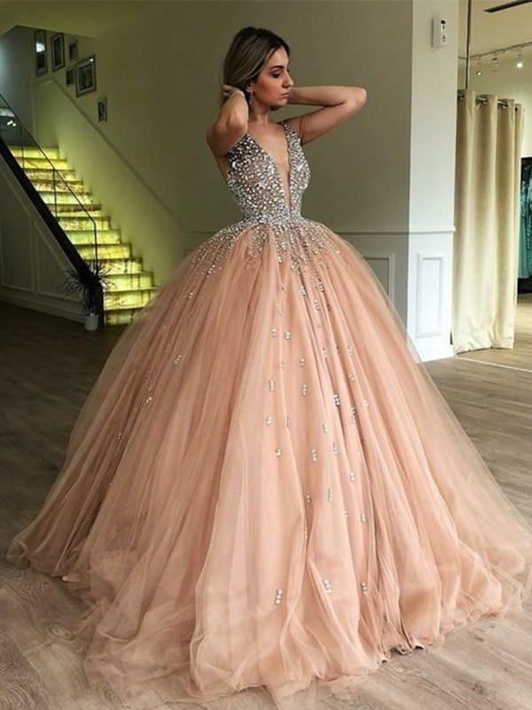 Ball Gown V-neck Sleeveless Floor-Length Beading Tulle Dresses