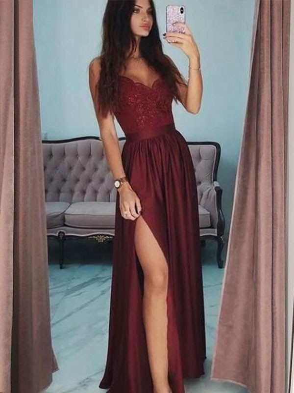 A-Line V-neck Sleeveless Floor-Length Lace Satin Dresses