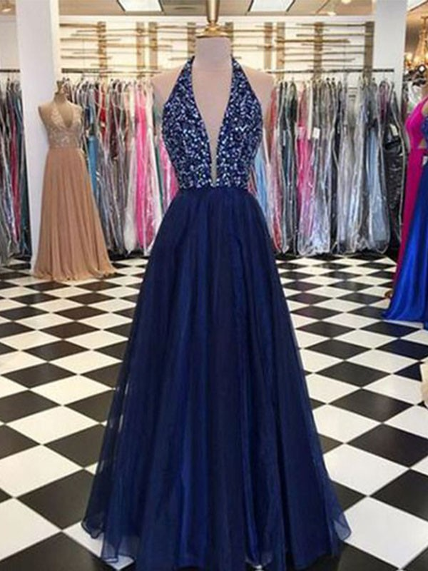 A-Line Halter Sleeveless Floor-Length Beading Tulle Dresses