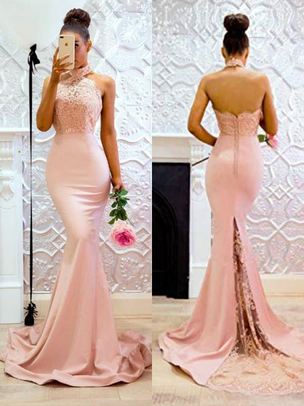 Mermaid Sleeveless Halter Sweep/Brush Train Lace Satin Dresses