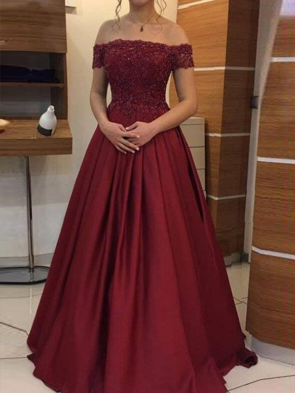 Ball Gown Off-the-Shoulder Sleeveless Floor-Length Applique Satin Dresses