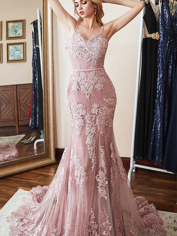 Trumpet/Mermaid Spaghetti Straps Sweep/Brush Train Applique Lace Dresses