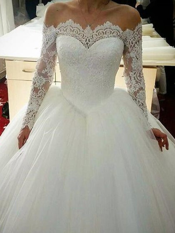 Ball Gown Tulle Applique Off-the-Shoulder Long Sleeves Sweep/Brush Train Wedding Dresses