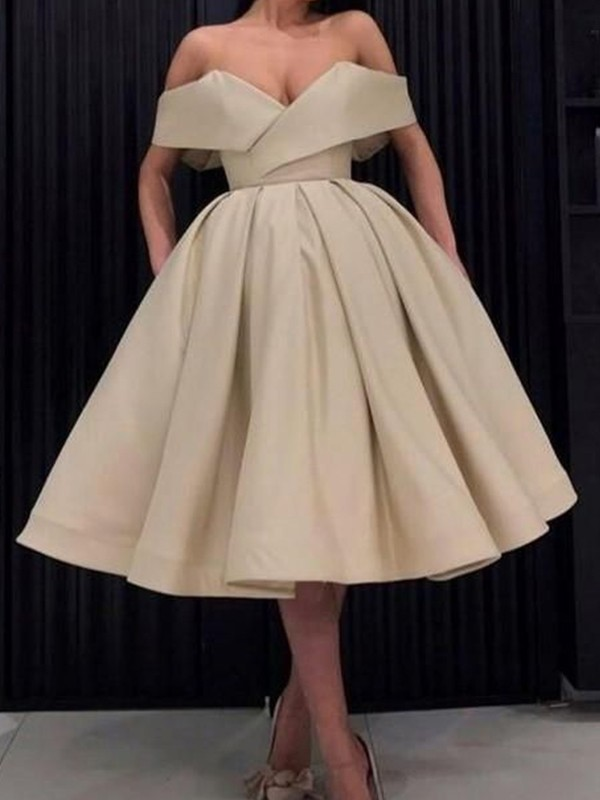Ball Gown Satin Ruffles Off-the-Shoulder Knee-Length Dresses