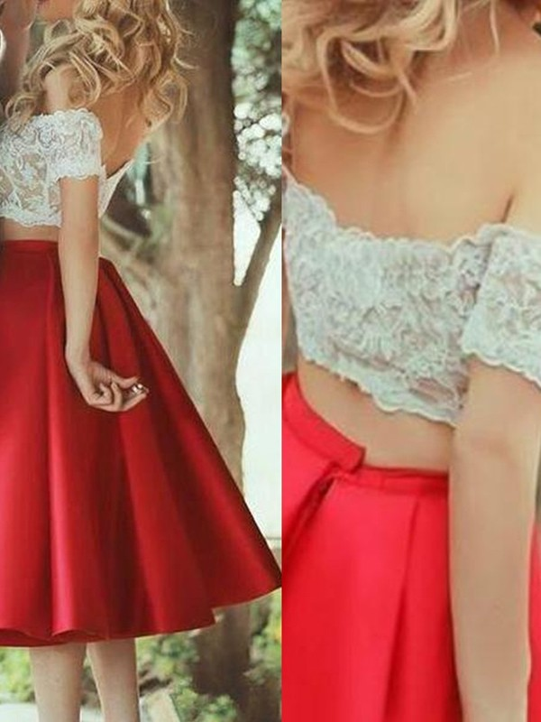 A-Line/Princess Sleeveless Off-the-Shoulder Satin Lace Knee-Length Two Piece Dresses