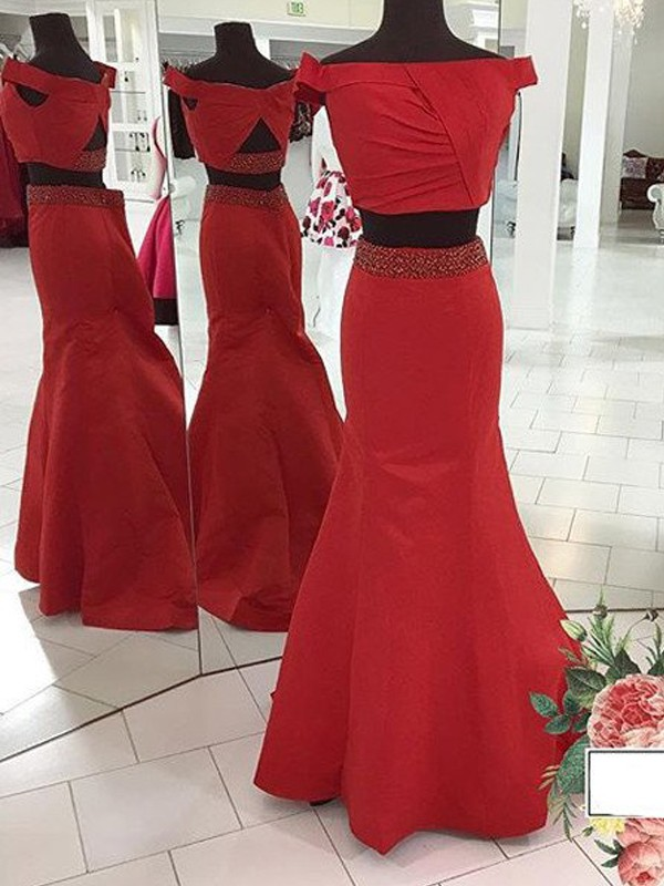 Trumpet/Mermaid Sleeveless Off-the-Shoulder Sweep/Brush Train Ruched Satin Two Piece Dresses