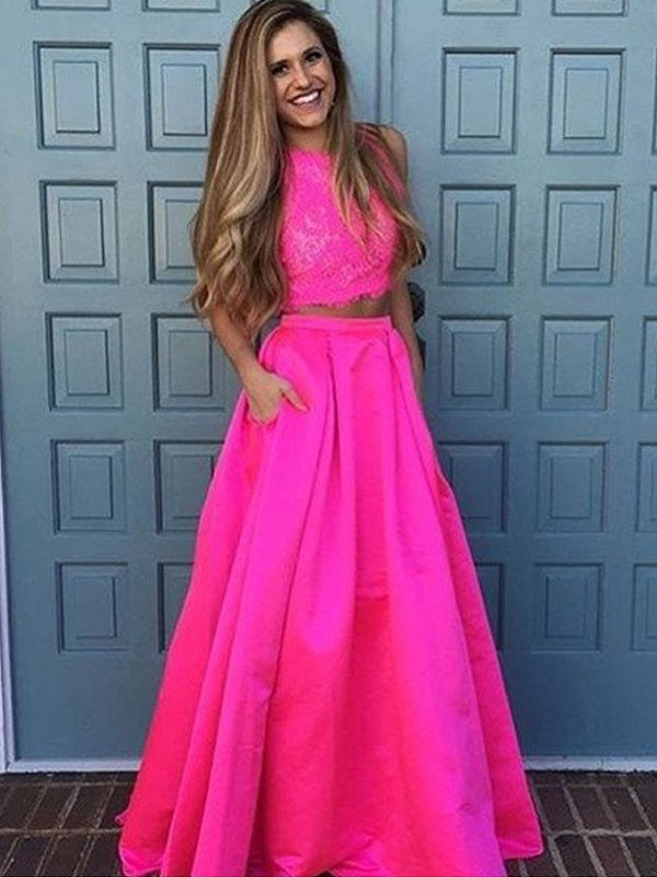 A-Line/Princess Scoop Sleeveless Floor-Length Lace Satin Two Piece Dresses