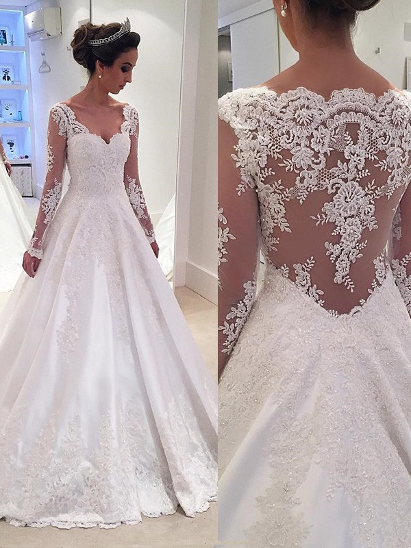 Ball Gown V-neck Long Sleeves Lace Court Train Satin Wedding Dresses