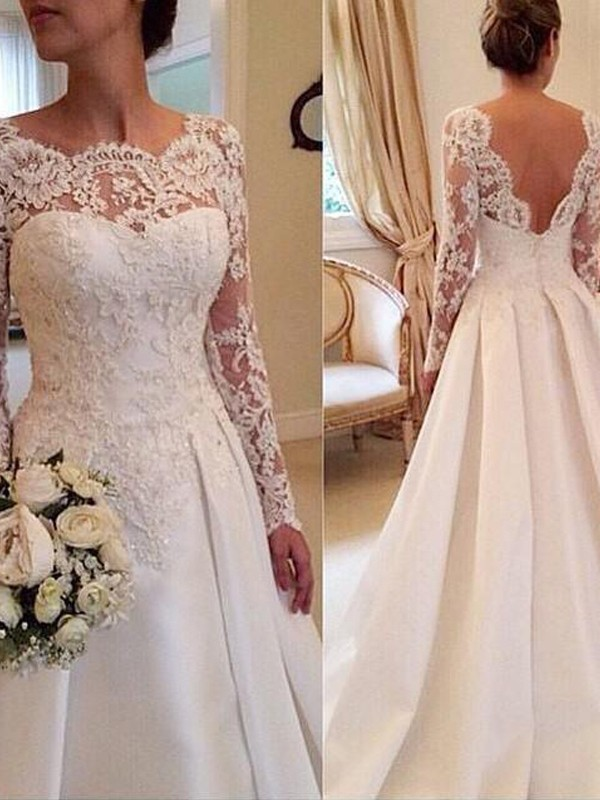 Ball Gown Scoop Long Sleeves Lace Court Train Satin Wedding Dresses