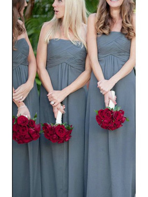 A-Line/Princess Sleeveless Strapless Ruched Floor-Length Chiffon Bridesmaid Dresses