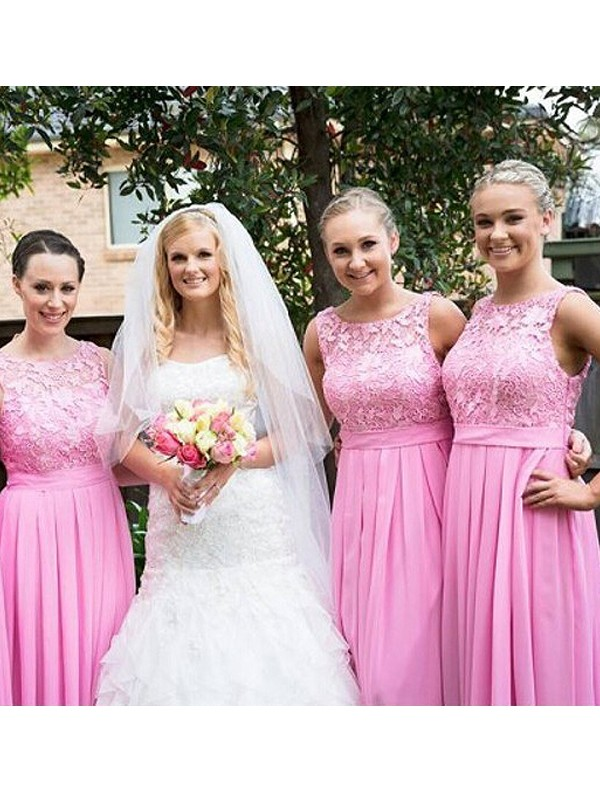 A-Line/Princess Scoop Sleeveless Floor-Length Lace Chiffon Bridesmaid Dresses