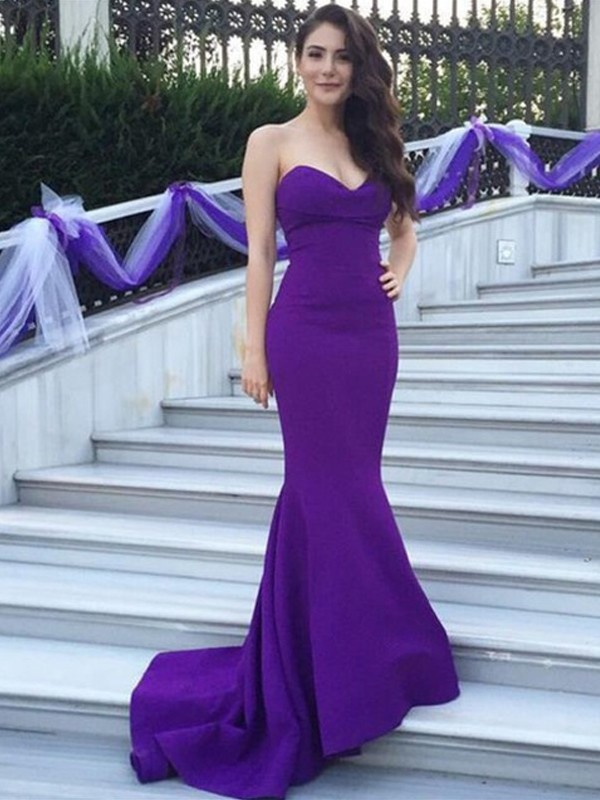 Trumpet/Mermaid Sweetheart Sleeveless Sweep/Brush Train Satin Bridesmaid Dresses