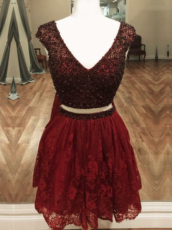 A-Line/Princess V-neck Sleeveless Beading Short/Mini Lace Two Piece Dresses