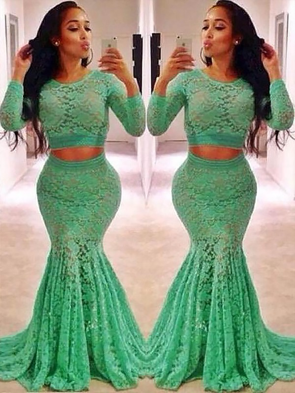 Mermaid Scoop Long Sleeves Lace Ruffles Sweep/Brush Train Two Piece Dresses