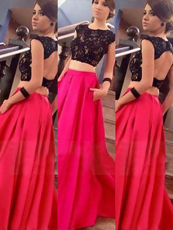 A-Line Bateau Sleeveless Satin Floor-Length Lace Two Piece Dresses
