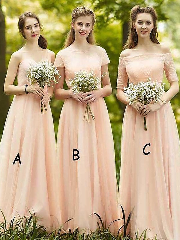 A-Line Chiffon Sleeveless Floor-Length Bridesmaid Dresses